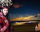 Ethnic beauty and wine psd
