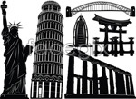 Link toEurope and the famous buildings vector