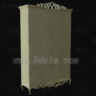 European carved style wooden wardrobe 3d model