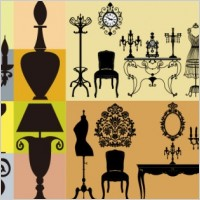Link toEuropean classical furniture silhouette vector