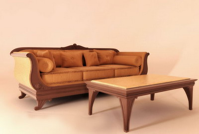 Link toEuropean furniture model: leather sofa and coffee table 3d model