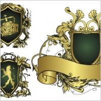 Link toEuropean gorgeous ribbon shield pattern vector