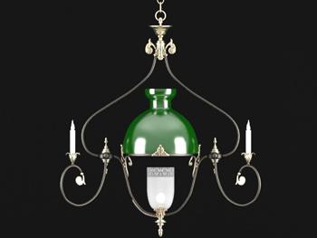 Link toEuropean green shade simple chandelier 3d model