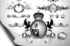 Link toEuropean-style black and white coat of arms tag vector