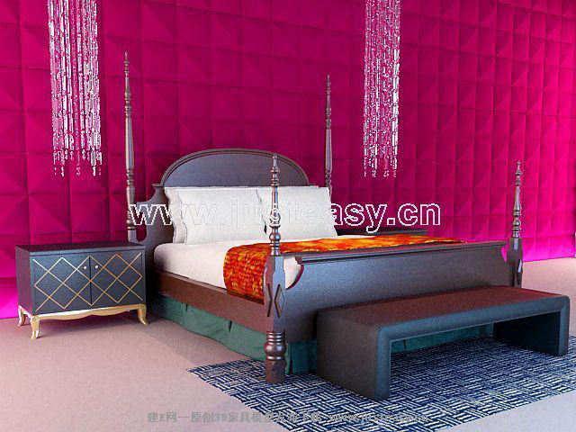 Link toEuropean-style black wood bed 3d model of mood (including materials)