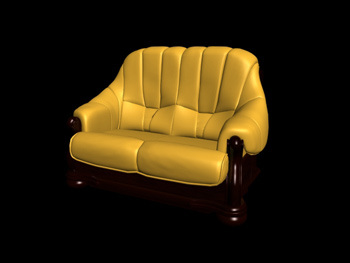 Link toEuropean-style double yellow leather sofa 3d model
