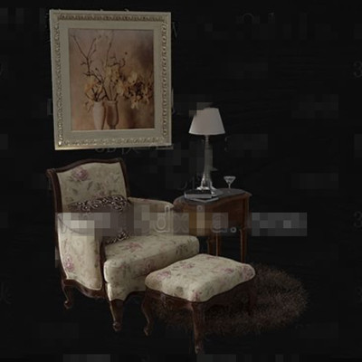 Link toEuropean style floral fabric sofa combination 3d model