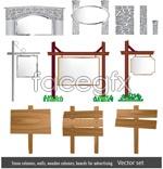 European-style garden elements vector