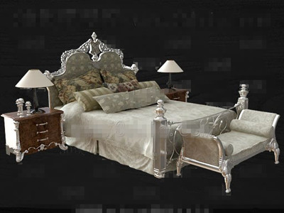 Link toEuropean style modern double bed 3d model
