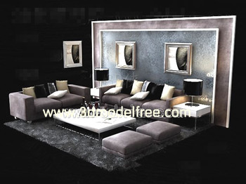 Link toEuropean style purple sofa combination 3d model