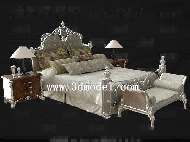 Link toEuropean style silver gray double bed 3d model