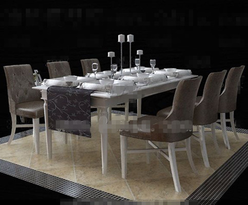Link toEuropean-style white dinette combination 3d model