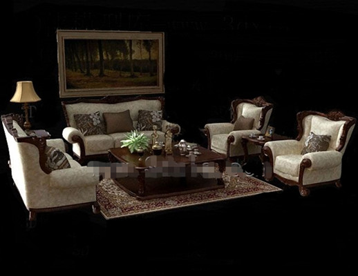 Link toEuropean-style wooden fabric sofa combination 3d model