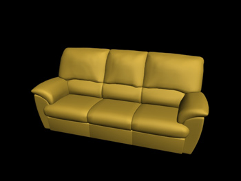Link toEuropean-style yellow three seats leather sofa 3d model