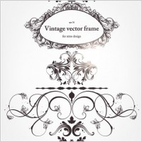 Link toEuropeanstyle floral border and decorations 04 vector