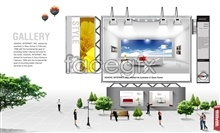 Link toExhibition design of outdoor advertisement templates psd
