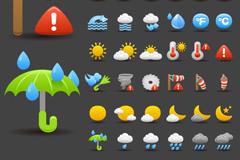 Exquisite cartoon weather icon vector