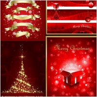 Link toExquisite christmas red elements poster vector