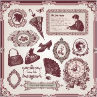 Link toExquisite europeanstyle pattern label 04 vector