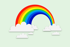 Link toExquisite rainbow clouds background vector