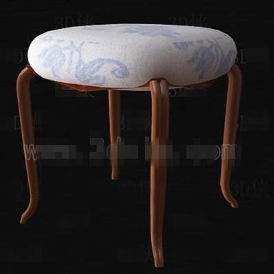 Link toFabric cushion three-legged wooden chair 3d model