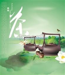 Link toFaint green tea poster design templates psd