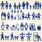 Link toFamily and shopping people silhouette vector free