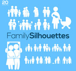 Family characters icons vector