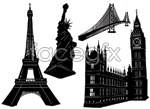 Link toFamous black and white buildings vector