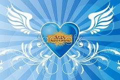 Link tovector heart-shaped crystal blue and backgrounds Fantasy