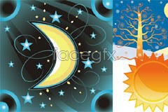 Fantasy cartoon moon sun vector