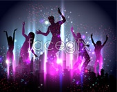 Link toFantasy party cheering crowd silhouettes vector
