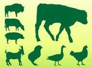 Farm animals silhouettes vector free
