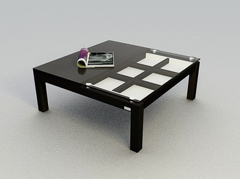 Link toFashion black glass table, wood coffee table high-end 3d models