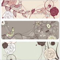 Link toFashion cute bird flowers vector 1