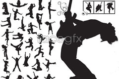 Link toFashion music up to one cool action silhouettes vector