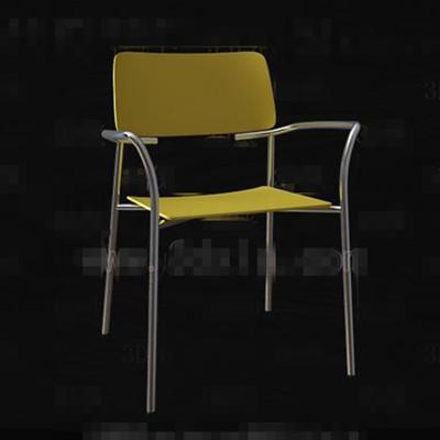 Link toFashion pale yellow metal legs chair 3d model