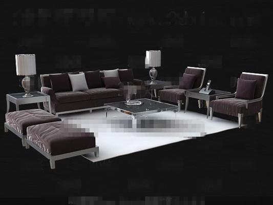 Link toFashion purple sofa combination 3d model