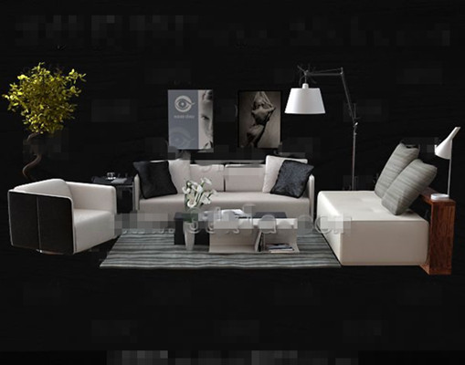 Link toFashion simple white sofa combination 3d model