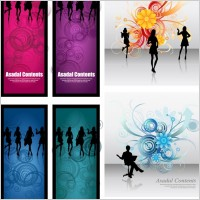 Link toFashionable female silhouette vector flowers background