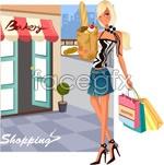 Fashionable women shopping 15 vector