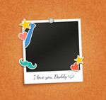 Father's day photo frame vector
