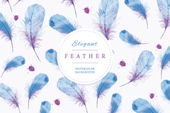 Link toFeather blue watercolor seamless vector background illustration