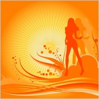 Link toFemale dancers silhouette vector with the trend of design elements