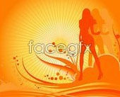 Link toFemale dancers sketch with stylish design elements vector