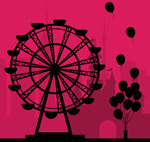 Link toFerris wheel with balloon sketch vector