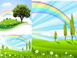 Link toFields of rainbow landscape vector