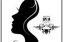 Fine woman face silhouette vector