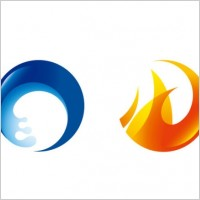 Link toFire and water circular icon vector