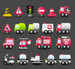Link toFire trucks police cars icons vector